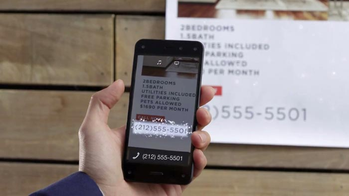 Firefly recognising a phone number on the Amazon Fire Phone