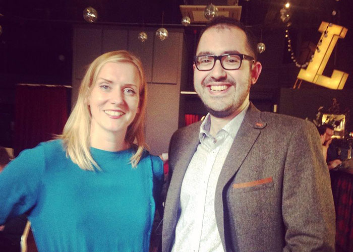 Nicola and Zarino, trustees, at the September 2014 Awesome Liverpool gift night