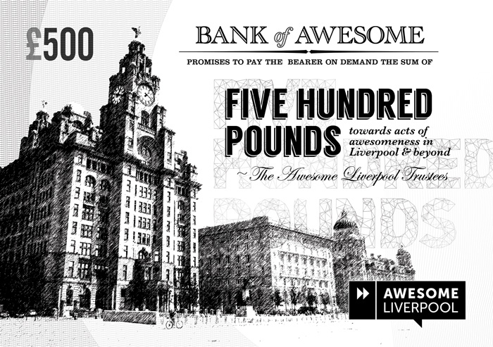 Early winners at Awesome Liverpool were given intricate banknote vouchers like this - now we have a chequebook, and sign it live on the night