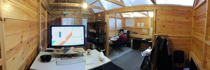 Panorama of Zarino's desk in the shed