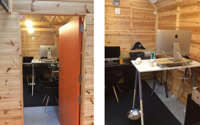 Zarino's desk in the Sea Level Research shed, in the Baltic Creative