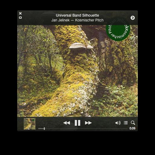 iTunes mini player, showing Jan Jelinek, Kosmischer Pitch