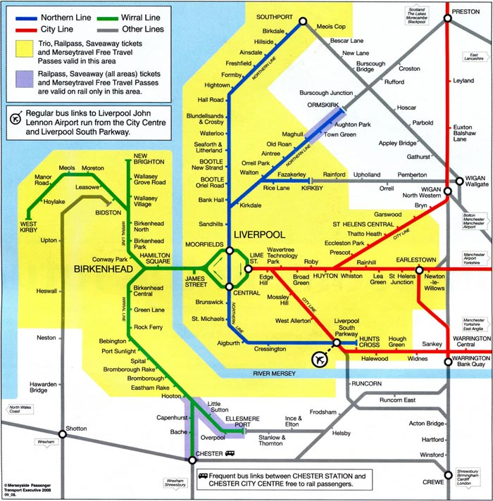 Map of the Merseyrail network