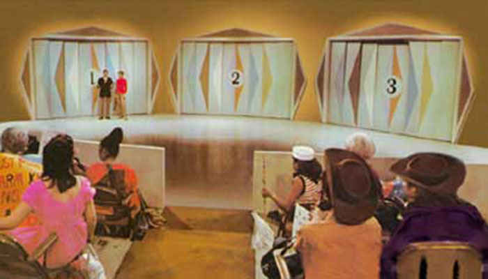 "Monty Hall reveals the three doors on ""Let's make a deal"""