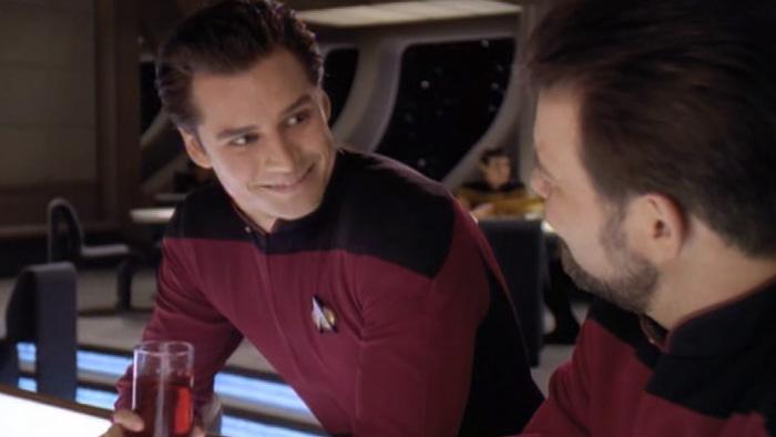 Ensign Lavelle ingratiates himself with Commander Riker
