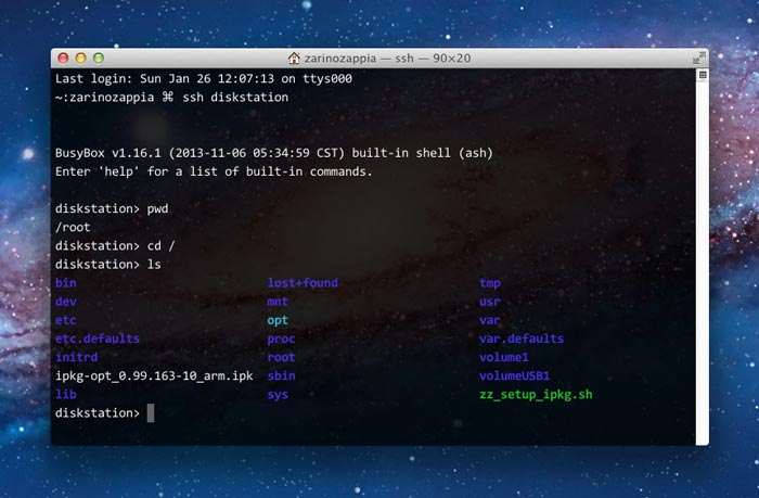 My Mac's terminal connected to the Synology DS214se via SSH
