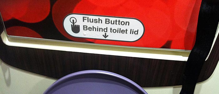 Sign above toilet flusher, telling you about toilet flusher