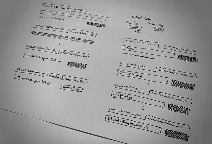 Hand drawn wireframes from the ScraperWiki office